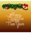 merry christmas and happy new year orange vector image