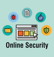 online security set icons vector image vector image
