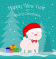 pink pig in a hat of santa claus with a red bow vector image