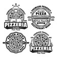 pizza and pizzeria set four emblems vector image