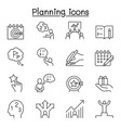 planning strategy schedule icon set in thin line vector image