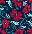 Red hibiscus tropical embroidery floral seamless vector image vector image