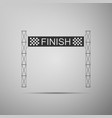 ribbon in finishing line icon on grey background vector image vector image