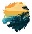 Roarin Lion Head Silhouette vector image vector image