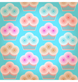 Seamless geometric background with cupcakes vector image