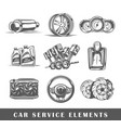 set of elements of the car service vector image