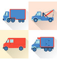 set of truck icons in flat style with long shadow vector image vector image