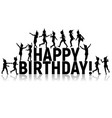 silhouettes letters children happy birthday vector image vector image