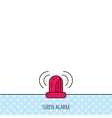 Siren alarm icon Alert flashing light sign vector image vector image