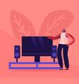 smart tv wireless technologies concept woman vector image