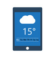 tablet with weather application on screen display vector image