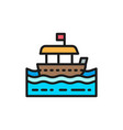 traditional thai tourist boat flat color line icon vector image vector image