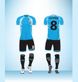 uniform football blue black vector image vector image