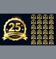 wedding anniversary golden badge label logotype vector image vector image