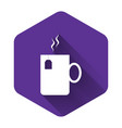 white cup tea with tea bag icon isolated with vector image vector image
