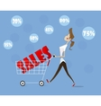 woman with trolley vector image vector image
