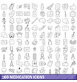 100 medication icons set outline style vector image