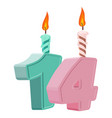 14 years birthday number with festive candle for vector image