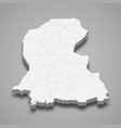 3d isometric map sindh is a province of vector image vector image
