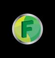 3d letter f symbol vector image