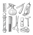 babershop business sketch tools line art set vector image vector image