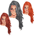 Beautiful girls with long haircuts vector image vector image