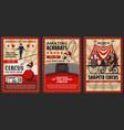 big top circus shapito acrobats and animals vector image vector image