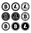 Bitcoin and litecoin icons set vector image vector image