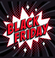 black friday sale comic style banner red black vector image