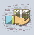 businessman hand with bills to financial economy vector image vector image