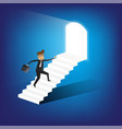 businessman running up stairway to the door vector image