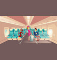 cabin plane with stewardess passengers vector image vector image