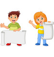 cartoon happy kids holding blank paper vector image