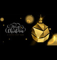 christmas and new year 3d gold ornament ball card vector image