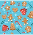 christmas pattern with gingerbread cookies cups vector image vector image
