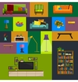collection of modern flat furniture icon vector image vector image