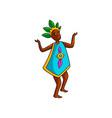 dancing african tribe woman with green leaf crown vector image