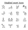 disabled sport icon set in thin line style vector image vector image