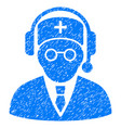 doctor listen grunge icon vector image vector image