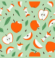 eaten bitten and sliced apples seamless pattern vector image