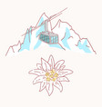 edelweiss mountains gondola flower symbol alpinism vector image vector image