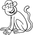 funny monkey cartoon coloring page vector image vector image