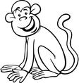 funny monkey cartoon coloring page vector image vector image