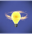 glass bulb on dark blue blurred background vector image