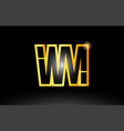 gold black alphabet letter wm w m logo vector image