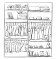 Hand drawn wardrobe sketch Interior with clothes vector image vector image