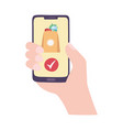 hand with smartphone online delivery isolated icon vector image