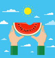 hands holding watermelon vector image