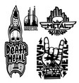 heavy rock music badge vintage labels with vector image vector image