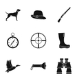 Hunting in forest icons set simple style vector image vector image